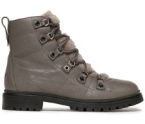 Hillary Shearling-trimmed Quilted Leather Boots Anthracite
