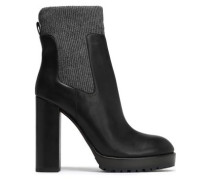 Bead-embellished ribbed-knit and leather ankle boots