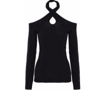 Cutout stretch-knit halterneck sweater