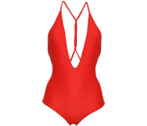 Africa Knotted Printed Swimsuit Red