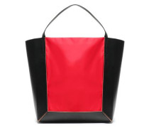 Shopper Two-tone Shell-paneled Leather Tote Red Size --