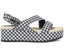 Megan Gingham Canvas Platform Slingback Sandals Navy