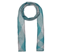 Metallic Checked Crochet-knit Scarf Turquoise Size --