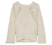 Ribbed open-knit cotton-bouclé sweater
