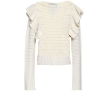 Ruffled pointelle-knit cashmere sweater