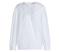Paneled broderie anglaise and cotton-blend poplin top