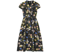 Henrietta Floral-print Cloqué Midi Dress Black