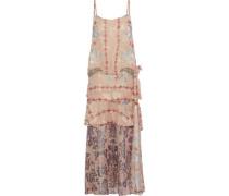 Layered Printed Fil Coupé Silk-blend Midi Dress Blush Size 0