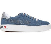 Metallic Leather-trimmed Studded Logo-print Denim Sneakers Mid Denim