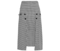 Button-detailed Paneled Houndstooth Crepe And Georgette Midi Skirt Black