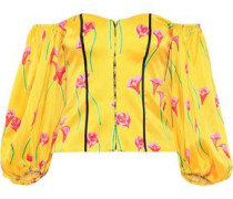 Belen Off-the-shoulder Floral-print Stretch-cotton Sateen Top Yellow