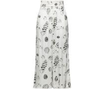 Cropped Printed Silk Wide-leg Pants White