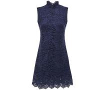 Woman Scalloped Corded Lace Mini Dress Navy