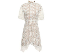 Jeanne Fluted Guipure Lace Mini Dress White Size 12