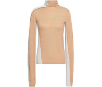 Two-tone Merino Wool Turtleneck Sweater Sand