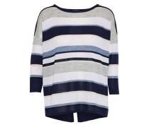 Split-back Striped Cashmere Top Navy