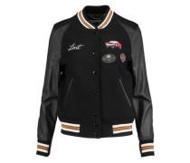 Appliquéd wool-blend and leather bomber jacket