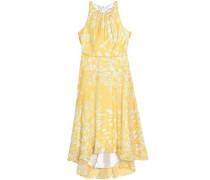 Printed crepe de chine midi dress