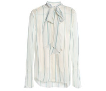 Pussy-bow Striped Silk-blend Georgette Blouse Ivory