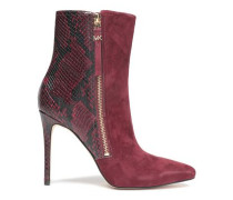 Paneled suede and snake-effect leather ankle boots