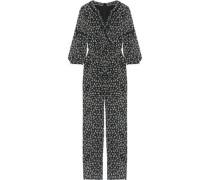 Lace-trimmed floral-print silk-chiffon jumpsuit