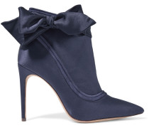 Woman Liz Bow-embellished Satin And Suede Ankle Boots Indigo