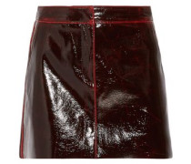 Glossed wool-blend mini skirt