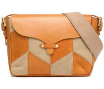 Paneled Leather, Suede And Canvas Shoulder Bag Tan Size --