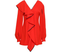 Cutout Ruffled Washed-crepe Blouse Red
