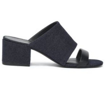 Cube Leather-trimmed Denim Mules Dark Denim