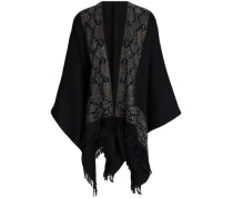Fringe-trimmed studded wool cape
