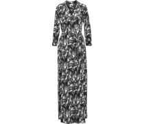 Cameron belted printed washed-silk maxi shirt dress