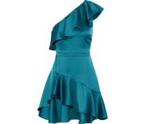 One-shoulder ruffled satin mini dress