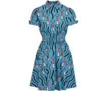 Woman Shirred Printed Cotton-poplin Mini Dress Azure