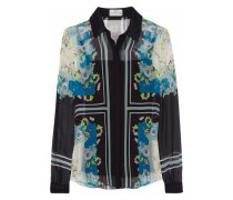 Sloane Printed Silk-georgette Shirt Black