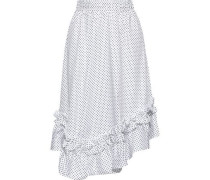 Asymmetric Ruffle-trimmed Polka-dot Cotton-poplin Skirt White