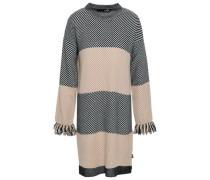 Fringe-trimmed Striped Knitted Mini Dress Neutral