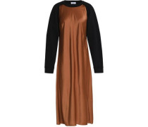Two-tone cutout cotton-terry and satin midi dress