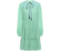 Lace-paneled Gathered Cotton-blend Georgette Mini Dress Mint
