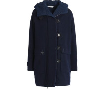 Double-breasted Wool-blend Hooded Coat Navy