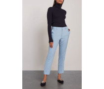 Emma Cropped Crepe Tapered Pants Light Blue