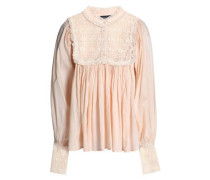 Lace-paneled Pleated Cotton-gauze Blouse Blush