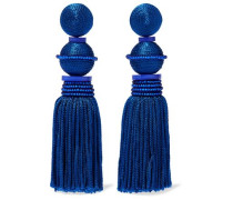 Tasseled Gold-tone, Cord, Bead And Resin Clip Earrings Royal Blue Size --