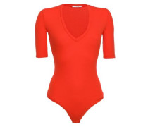 Bedford Ribbed Modal-blend Jersey Thong Bodysuit Tomato Red