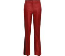 Satin-trimmed Wool And Silk-blend Twill Straight-leg Pants Brick