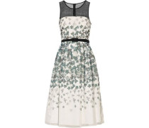 Printed organza and tulle paneled dress