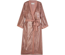Silk-trimmed Metallic Velvet Kimono Antique Rose Size 0