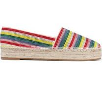 Dalyn Crystal-embellished Striped Suede Platform Espadrilles Multicolor