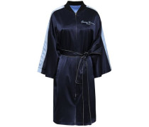 Reversible Embroidered Silk-satin Jacket Navy