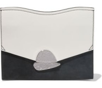 Woman Curl Color-block Leather And Suede Clutch Black